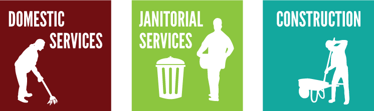 domestic service, janitorial service, construction